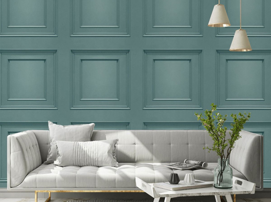 Teal, Smooth Finish, Wooden Panel Effect