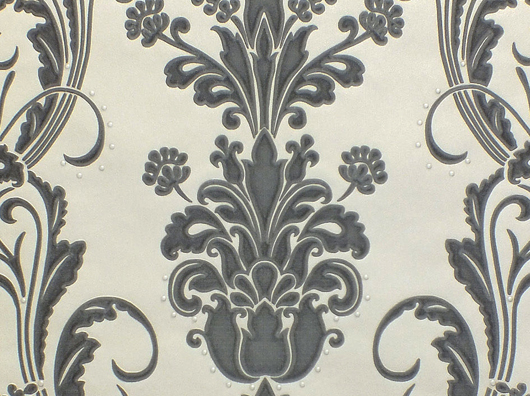 Santino Black / Ivory Damask Heavyweight Vinyl Opus Wallpaper by Holden Decor
