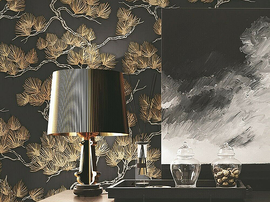 Black & Gold, Oriental Pine Tree, Design id 15