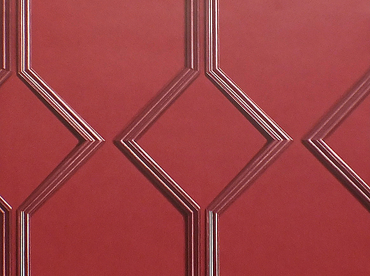 Red, Smooth Finish, Art Deco Style, Wooden Panel Effect Wallpaper