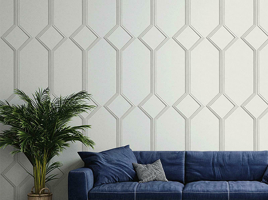 Off White, Smooth Finish, Art Deco Style, Wooden Panel Effect Wallpaper