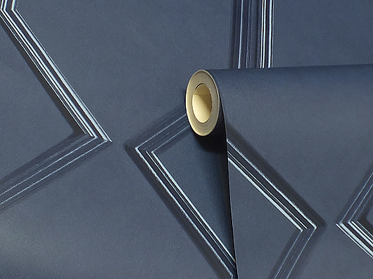 Navy, Smooth Finish, Art Deco Style, Wooden Panel Effect Wallpaper