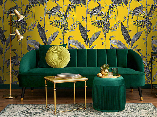 Mustard Yellow, Modern Tropical Themed, Birds & Leaves Wallpaper
