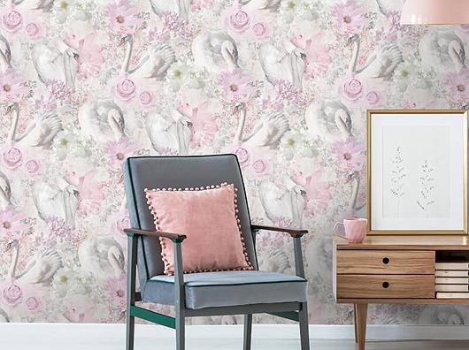Elegant Pink Glitter Swans & Flowers Wallpaper
