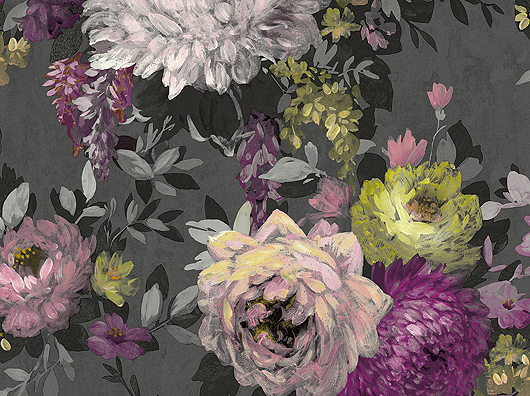 Charcoal, Hand Painted Effect, Azzura Floral 9510