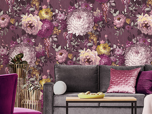 Mulberry, Hand Painted Effect, Azzura Floral 9511