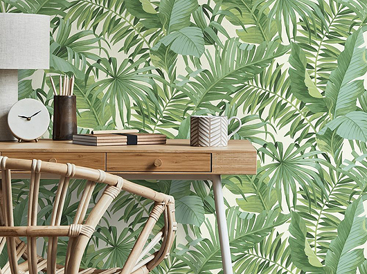Tropical Green Palm Leaves Pattern FD42850